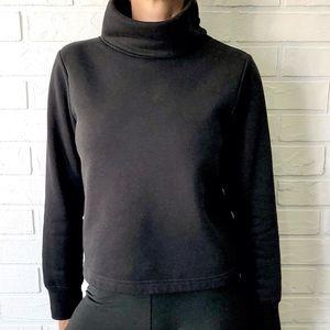 Zara cropped boxy roll neck black sweat shirt S